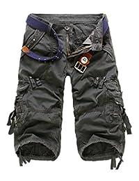 UUYUK-Women Uuyuk Mens Casual Relaxed Fit Solid Long Cargo Shorts Capri Pants