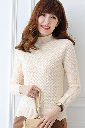 Amazon.com   2018 autumn and winter thick cashmere sweater women Slim  inside take new twist pullover half-collar shirt five-pin for women girl    Beauty 57f52ebd3