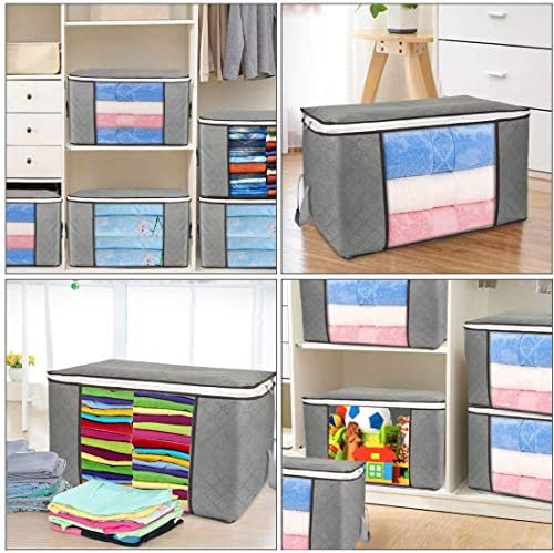 Large Storage Bags, 2 Pack Clothes Storage Bins Foldable Closet Organizers Storage Containers with Durable Handles Thick Fabric for Blanket Comforter Clothing Bedding 90L