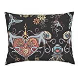 Gear Octopus Urban Threads Embroidery Lock Steam Punk Tentacle Euro Knife Edge Pillow Sham Octopuses in Love Black by Chicca Besso 100% Cotton Sateen
