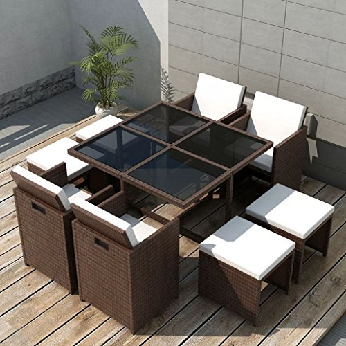 Festnight 9 Pieces Outdoor Wicker Patio Dining Glass Table and Chairs Set with Cushioned Seat and Ottomans PE Rattan Sectional Conversation Set(Brown) ()
