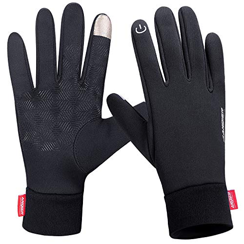 Lanyi Winter Warm Gloves Touchscreen Windproof Anti-slip Outdoor Cycling Work Snowboard Driving Black Gloves Men Women (Large)