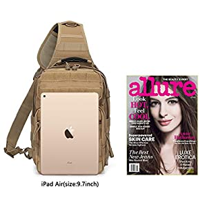 G4Free Outdoor Tactical Sling Backpack, Military Sport Daypack Shoulder One Strap Small Backpack for Camping, Hiking, Trekking, Rover Molle Chest Pack(Tan)