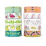 Miss Pettigrew Premium 2-in-1 Washi Tape Set - Tropical Flamingo and Unicorn Dreams - 14 Extra-Long 10m Rolls of Decorative Colored Masking Tape