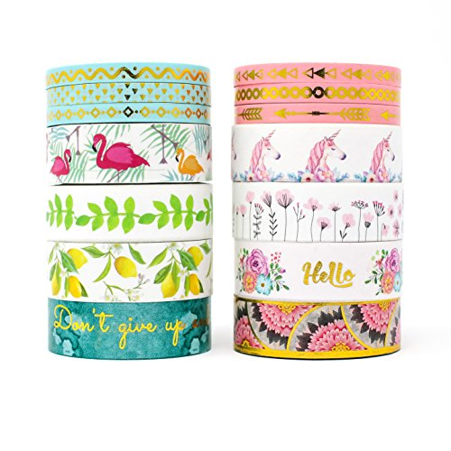 Miss Pettigrew Premium 2-in-1 Washi Tape Set - Tropical Flamingo and Unicorn Dreams - 14 Extra-Long 10m Rolls of Decorative Colored Masking Tape by Miss Pettigrew