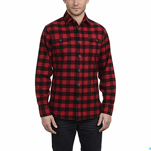 JACHS Men's Brawny Flannel Shirt (L, Red Buffalo ()