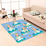Nalahome Custom carpet m Decorations Baptism Sitting Sleeping Crawling Smiling Babies On Clouds Catholic Children Party area rugs for Living Dining Room Bedroom Hallway Office Carpet (5' X 7')