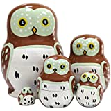 Set of 5 Cutie Cute Lovely Cartoon Mini Wise Smart Owl Animal Nesting Dolls Matryoshka Russian Doll Popular Handmade Kids Girl Holiday Novelty Mother's Day Gifts Toy