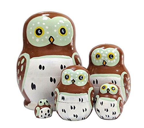 Set of 5 Cutie Lovely Mini Owl Nesting Dolls Matryoshka Madness Russian Doll Popular Handmade Kids Girl Gifts Toy