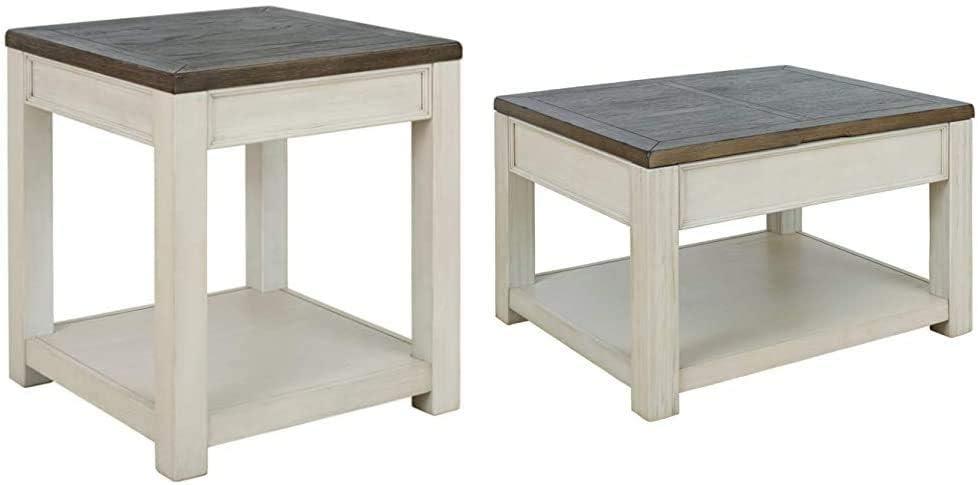 Signature Design by Ashley - Bolanburg Square End Table w/Fixed Shelf, Brown/White & Bolanburg Lift Top Cocktail Table w/Fixed Shelf, Brown/White