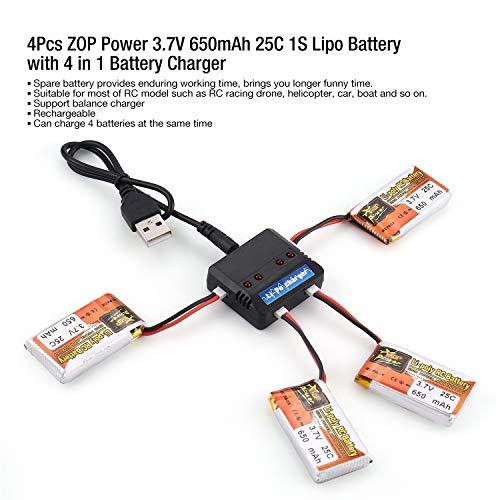 4Pcs ZOP Power 3.7V 650mAh 25C 1S Lipo Batería Recargable con 4 en 1 Batería Cargador USB para RC Racing Drone Helicopter...