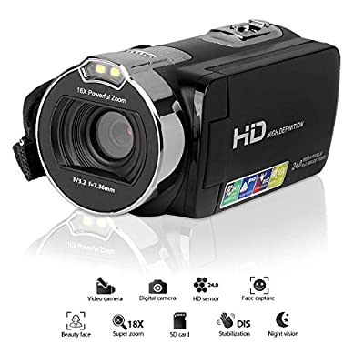 Video Camera,Lyyes HD 1080P Camcorder 24.0 MP 2.7 Inches LCD Screen 270 Degree Rotable 16X Zoom Digital Camera
