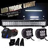 2001 chevy camaro grill - DOT Approved 20Inch LED Light Bar 126W Bumper Grill Bull Off Road Driving Lights+18W Cube Light w/Wiring Harness For Polaris RZR Toyota Tacoma GMC UTV ATV 4WD Jeep Truck Tractor Pickup Camper Boat