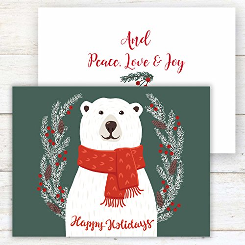 Smiling Polar Bear Holiday Card Pack - Set of 25 cards - 1 design, versed inside with envelopes Photo #4