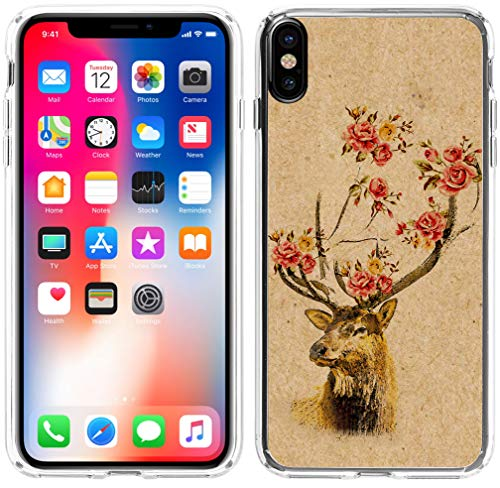 (Case for iPhone Xs Max, Hungo Soft TPU Silicone Protective Case Compatible for iPhone Xs Max 2018 6.5 Inches Deer Head Creative Retro Deer Flower)