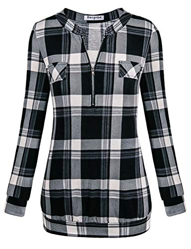 Becanbe Ladies Tunic Tops,Women's Tops Band Collar Zip V Neck Spring Blouse Classy Stylish Long Sleeve Multi Color Printed Polo Henley Shirt Soft Surroundings(Black,XX-Large)
