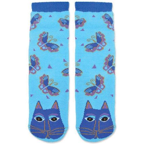 Laurel Burch Womens Single Pack Friendly Animal Slipper Socks Indigo Cats