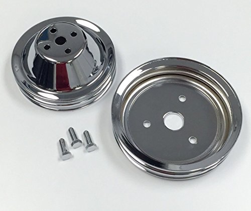 SB Chevy Short Water Pump Chrome Steel 2 Groove Pulley Kit 283 327 350 (Chevy Short Pump)