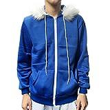 Men Women Cosplay Blue Fleece Hooded Jacket Sweater Costume Warm Sport Coat (XL, Blue)