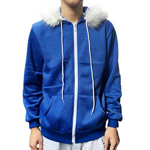 Men Women Cosplay Blue Fleece Hooded Jacket Sweater Costume Warm Sport Coat