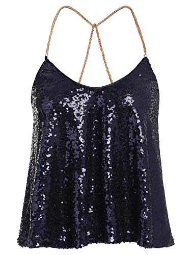 Verdusa Women's Spaghetti Straps Party Criss Cross Sequin Sparkle Cami Halter Top Navy -