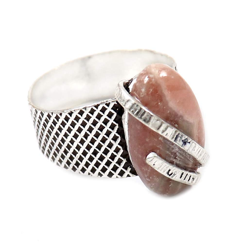 GoyalCrafts Natural Rhodochrosite Gemstone Ring US-6 Silver Plated Fashion Jewelry GRF-41
