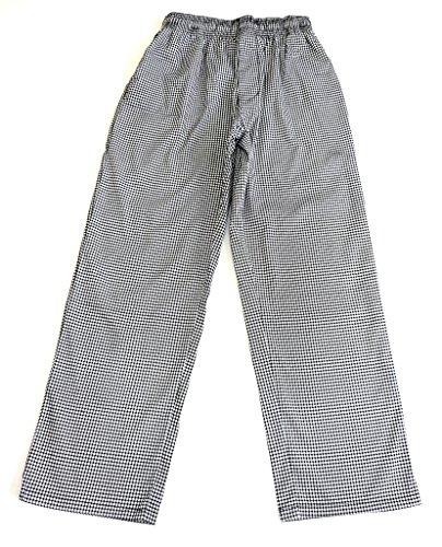 NATURAL UNIFORMS Unisex Black & White Checker Baggy Chef Pants M Black / White