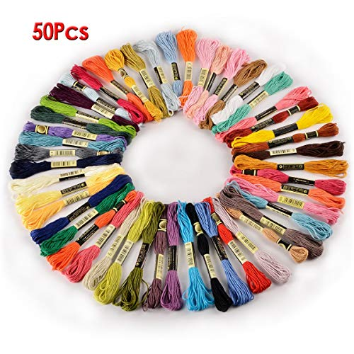 Embroidery Floss - Fjs 50 Skeins Embroidery Floss 8m 6 Ply Multicolor Color Colorful - Ecru Glitter Hand Gray Earth Effects Drawer Natural Bird Goldenrod Color Thread Multicolor Bobbins Assor