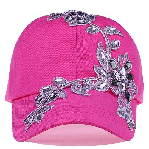 Bling Baseball Cap Women Lace Flower Rhinestone Snapback Golf Sun Hats Adjustable