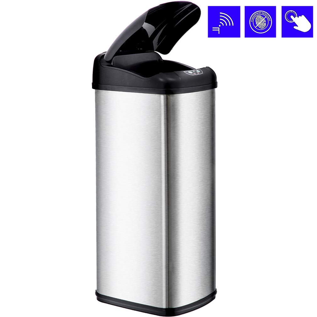 Bestoffice Kitchen Trash Can Garbage Stainless Steel For Home Office Bathroom With Lid Touch Free Automatic Waste Bin 13 Gallon 50l 1 Pack Ss
