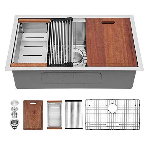 Sarlai 32 Inch Kitchen Sink Undermount Ledge Workstation Deep Single