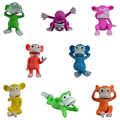 "Cheeky Chimp Figures - Large Neon Color Plastic Monkey Figurines - Set of 20 (2"" Inch Size Monkey Figures) …: Toys & Games"