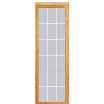National Door Company Z020046L Unfinished Pine Wood 18 Lite V Groove Clear  Glass, Left