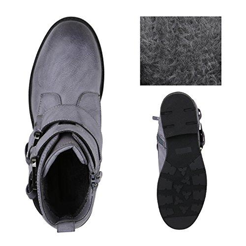 Stiefelparadies Damen Biker Boots Stiefeletten Prints Profil Sohle Block Absatz Flandell Blau Grau Schnallen
