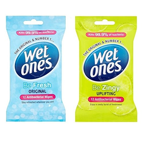 Wet Ones Antibacterial Be Gentle + Zingy Travel Adults Kid Face Baby Wipes 40Pks