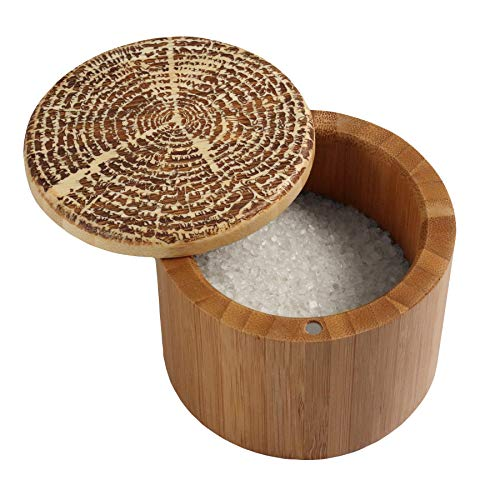 Totally Bamboo Salt Box, Bamboo Storage Box with Magnetic Swivel Lid,