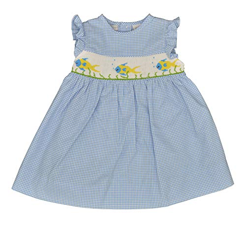 Carriage Boutiques Smocked Dress - Carriage Boutique Baby Girl Dress Blue Fly Sleeve Yellow Smocked Fish, 9M Newborn