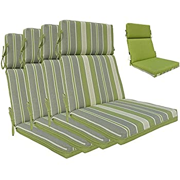 Bossima Indoor/Outdoor Green/Grey Striped/Piebald High Back Chair Cushion,  Set