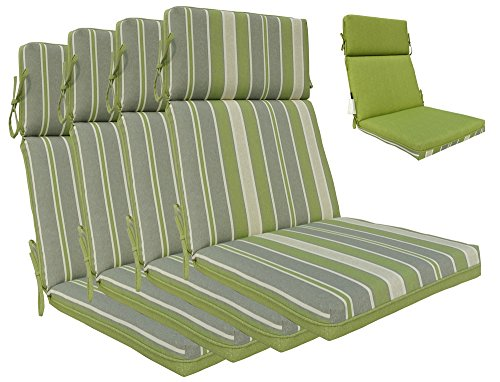 (Bossima Indoor/Outdoor Green/Grey Striped/Piebald High Back Chair Cushion, Set of 4,Spring/Summer Seasonal Replacement Cushions.)