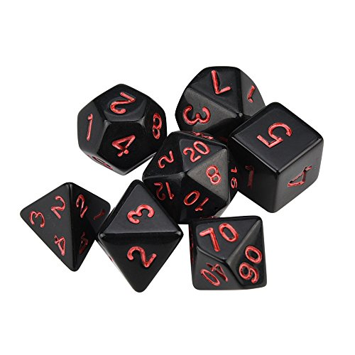 Finedayqi  7pcs/Set TRPG Game Dungeons & Dragons Polyhedral D4-D20 Multi Sided Acrylic Dice
