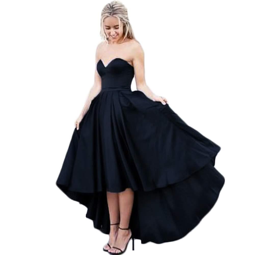 Black XKYU Women's Sweetheart High Low Satin Prom Dresses ALine Ruffled Sleeveless Luxury High Waist Evening Dresses