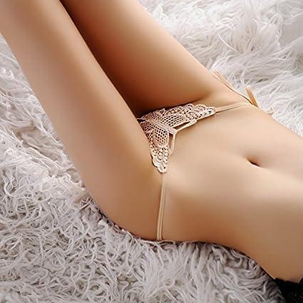 RangYR Ropa interior sexy de seda, encaje, pantalón interior, cintura, delgado,