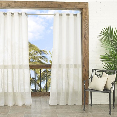 PARASOL 14026052084IVY Summerland Key 52-Inch by 84-Inch Indoor/Outdoor Sheer Single Curtain Panel, (Ivory Stripes Curtain)