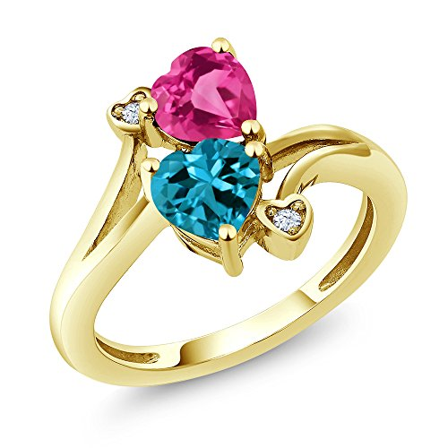 1.78 Ct Heart Shape London Blue Topaz Pink Created Sapphire 10K Yellow Gold Ring (Size 8)