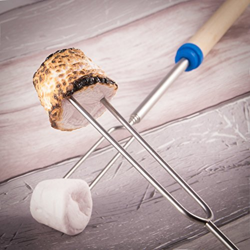 8 Pack Marshmallow Roasting Sticks 32 Inch Telescoping Barbecue Forks Smores Skewers BBQ Hot Dog Grill Camping Campfire Fire Pit Cookware