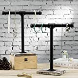 MyGift Torched Wood and Industrial Pipe T-Bar