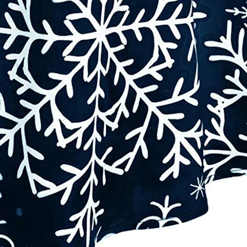 YAYAKI Kleider Damen Langarm Vintage Retro Cocktailkleid Rockabilly Weihnachten Drucken Abend Prom Kost/üm Elegant A-Linie Swing Kleid Dress V-Ausschnitt Kleid Weihnachtenkleid