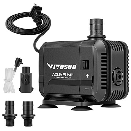 VIVOSUN 400GPH Submersible Pump(1500L/H, 15W), Ultra Quiet Water Pump with 5.2ft High Lift, Fountain Pump with 5ft Power…
