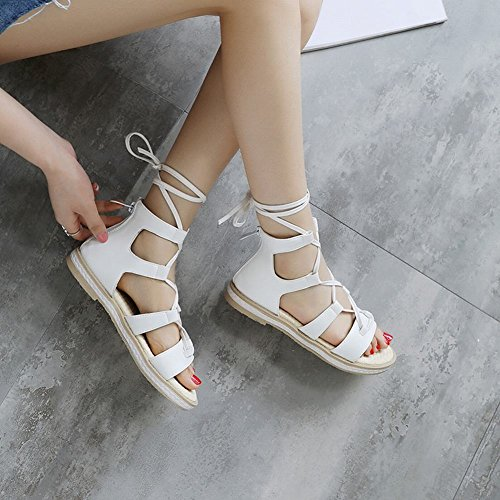 Carolbar Women's New Style Concise Flat Ankle-wrap Casual Sandals White Xaw8sV