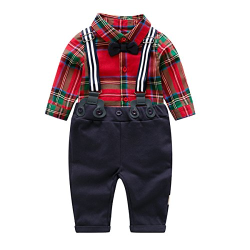 Baby Boy Clothing Sets with Bowtie,Infant Red Plaid + Blue Bibs Pants + Suspender Outfits ()